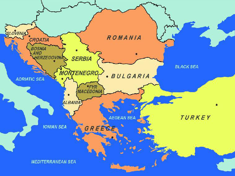 Map of the countries in South Eastern Europe. © map: Miroslav Velkov